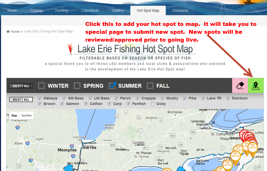 Lake Erie Fishing Hot Spot Map Buffalo News Article Open Lake - Lake erie fishing hot spots map